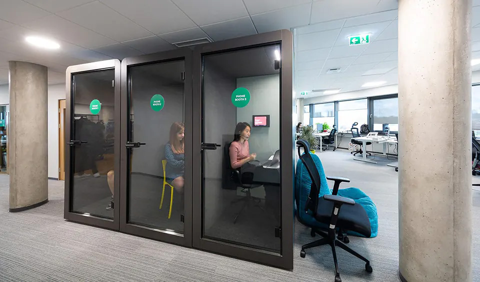 Three occupied Space 1s in an office setting